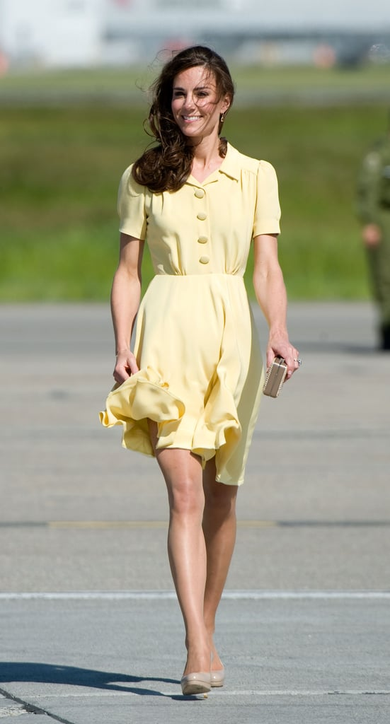 During a tour of Canada in 2011, Kate chose a yellow silk tea dress by Jenny Packham.