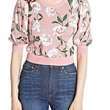 Alice + Olivia Brandy Floral Puff Crop Sweater