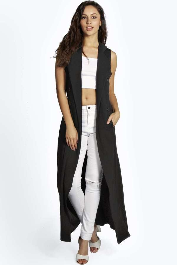 Boohoo Sleeveless Button Belted Trench