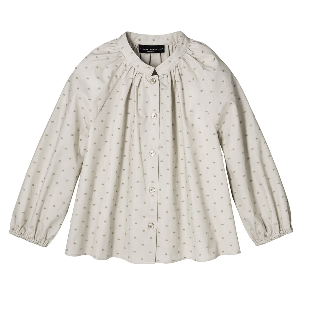 Girls' Sage Green Swiss Dot Button Down Top ($20)
