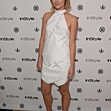Rachael Taylor matched the white decor at InStyle's Summer Soiree in a geometric design and cap-toe heels.