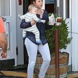 Samuel Affleck got a lift from the nanny.