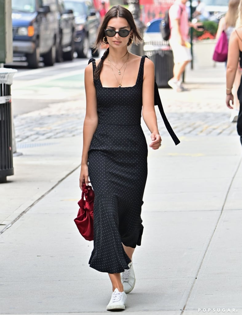 Emily Ratajkowski Polka Dot Dress With White Sneakers 2019