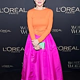 For the L'Oreal Paris Canadian Women of Worth Awards Gala, the actress wore a striking orange top with a hot pink skirt.