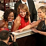 Jennifer Aniston met up with Viola Davis and Allison Janney during the show.