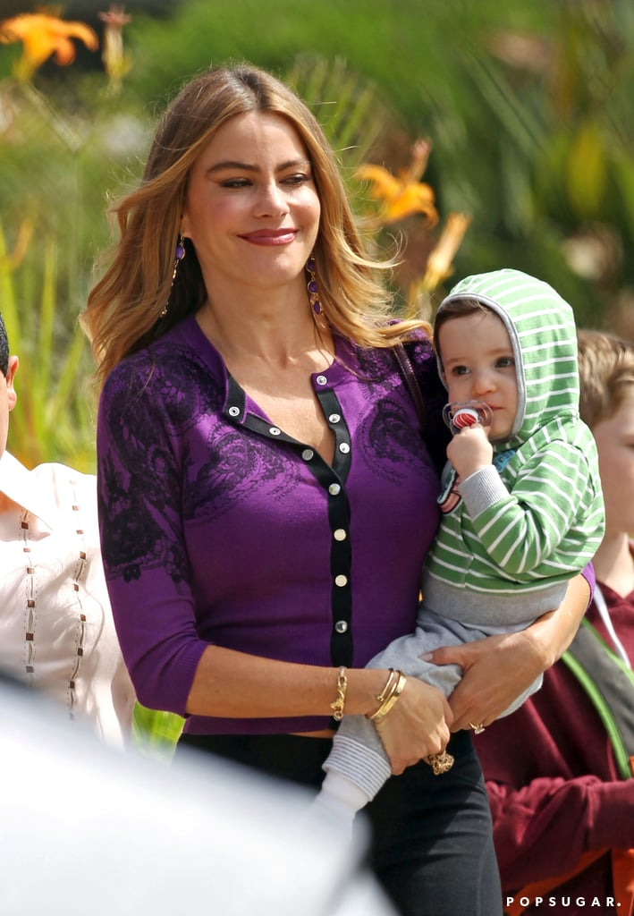 Sofia Vergara held her TV baby while filming Modern Family in LA.