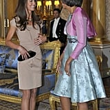 The Anya Hindmarch 'Maude' clutch had one of its first outings for a visit with the Obamas in 2011.