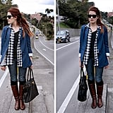 We love the unexpected addition of a blue blazer.  Photo courtesy of Lookbook.nu