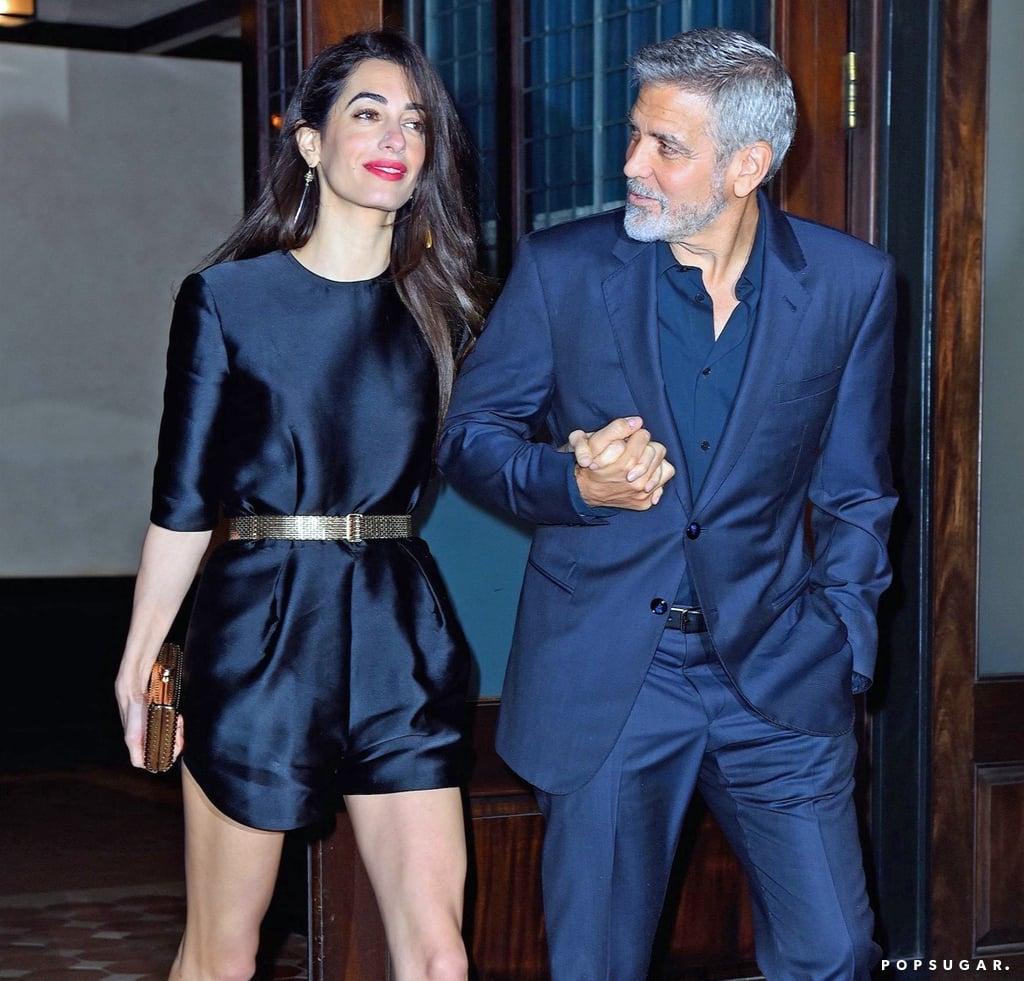 Amal Clooney Black Romper With Gold Belt