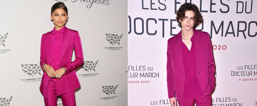 Timothée Chalamet's Fuchsia Suit at Little Women Premiere