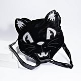 Black Patent Leatherette and Silver Sparkle Midnight Cat Tote