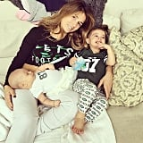"""Cozy day with my babies :) waiting for dada's game to come on!!"""