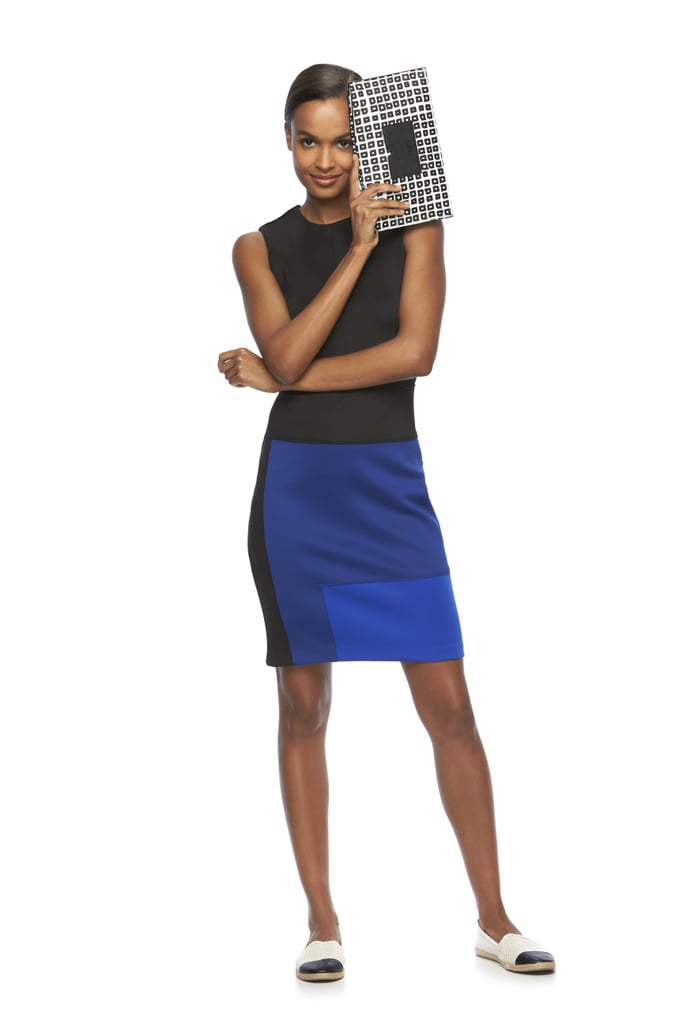 Geometric Scuba Sheath Dress ($68) and Atlantique Large Pouch ($29)