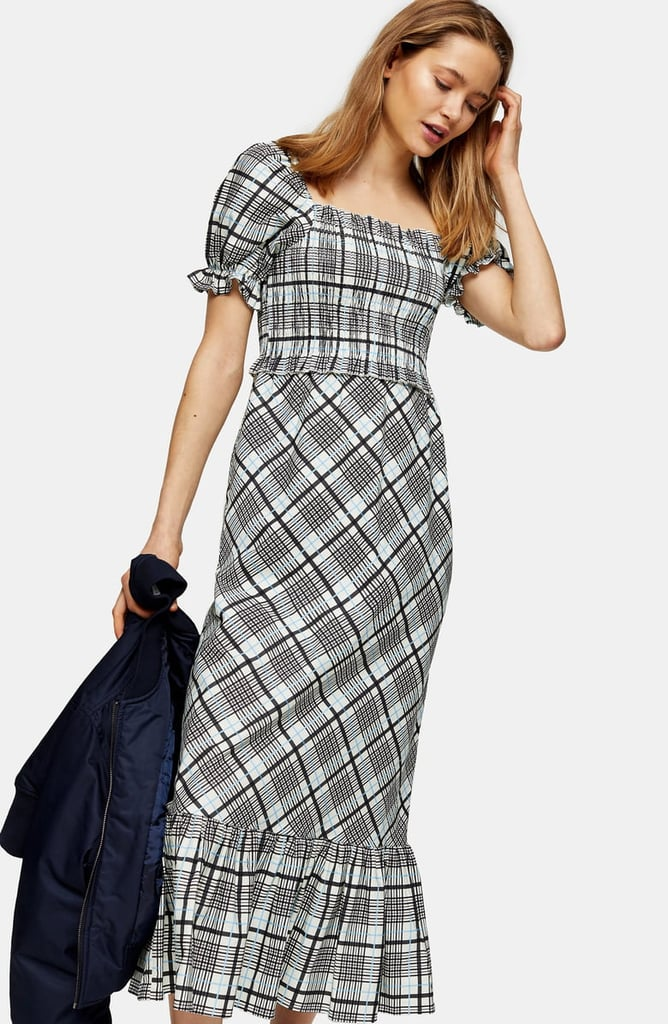 Topshop Sheer Check Midi Dress