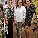 Molly Sims, Diane von Furstenberg, and Milla Jovovich posed at the event.