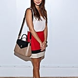 Jamie Chung chose a colorblocked skirt and a white tank at Kate Spade.