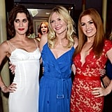 Lizzy Caplan, Kirsten Dunst and Isla Fisher went Americana for the premiere of their new movie, Bachelorette, on August 23.