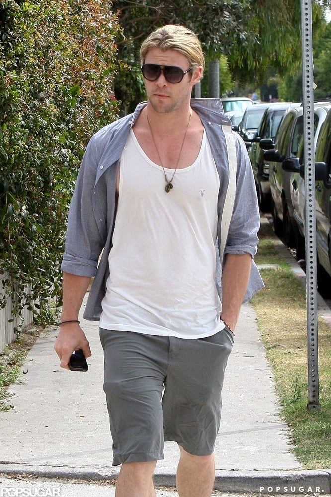 Chris Hemsworth walked to Brick House Kitchen in Venice, CA, yesterday for a bite. The actor has been spending most of his time with his wife, Elsa Pataky, and their newborn daughter lately, but he was alone as he stepped out for the meal. Elsa gave birth to India Rose in London this Spring, while she and Chris were in England promoting Snow White and the Huntsman. Since then, he's been able to enjoy some time with his family while he waits to begin shooting Thor 2. He and Elsa brought their new addition along for a trip to her native Spain earlier this month, where they spent time with her family. Thor 2, which will begin filming toward the end of the Summer, will be the first of two sequels for Chris in the near future. It's also been confirmed that a follow-up to SWATH has gotten the green light.