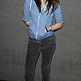 Kristen Stewart looked casual in a light blue hoodie and sneakers at the LA Comic Book and Science Fiction Convention in January 2007.