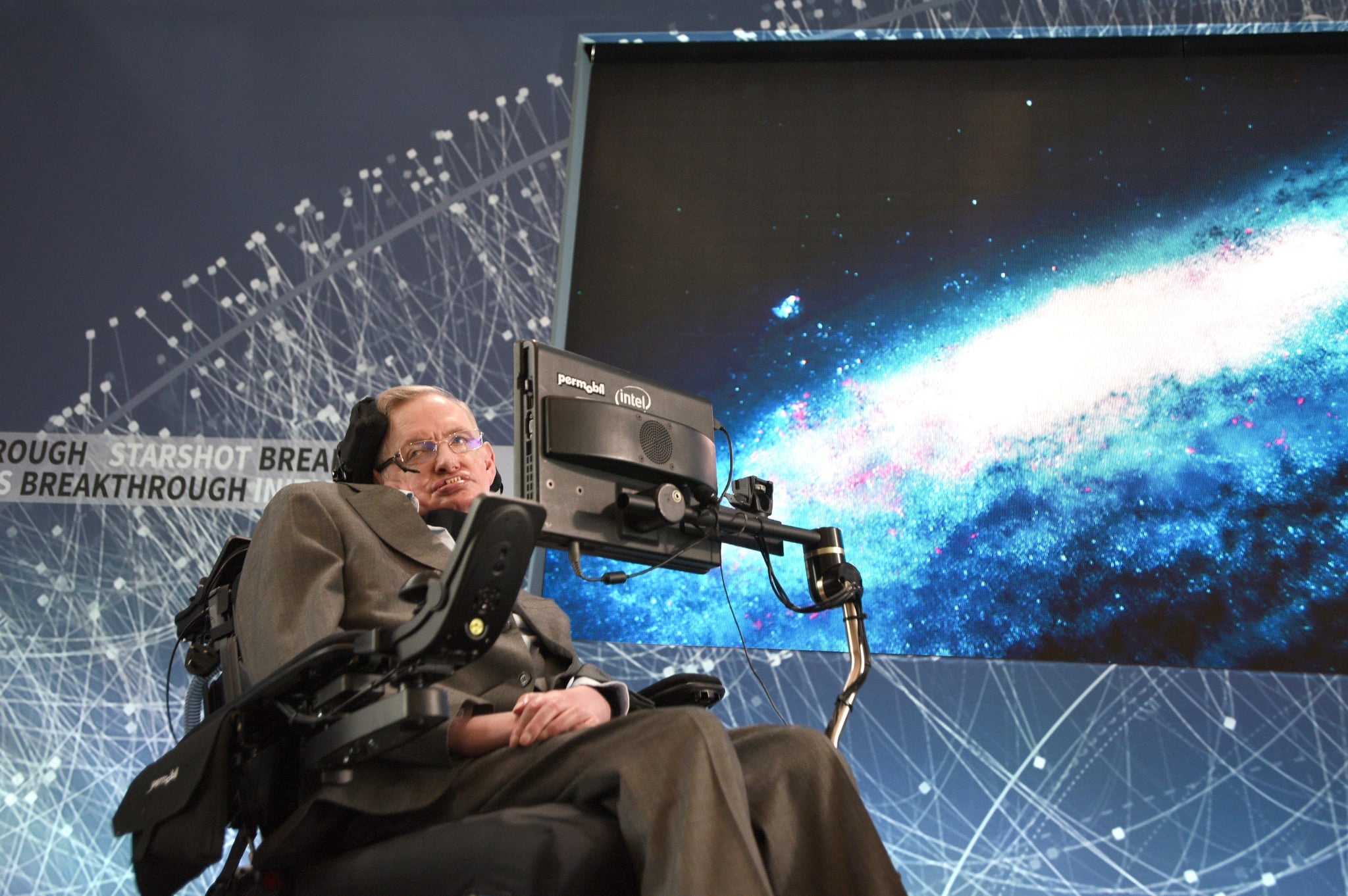 NEW YORK, NEW YORK - APRIL 12:  Stephen Hawking, CH, CBE, FRS, Dennis Stanton Avery and Sally Tsui Wong-Avery Director of Research, University of Cambridge as he and Yuri Milner host press conference to announce Breakthrough Starshot, a new space exploration initiative, at One World Observatory on April 12, 2016 in New York City.  (Photo by Bryan Bedder/Getty Images for Breakthrough Prize Foundation)