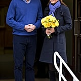Kate Wore a Periwinkle Scarf to Complement William's Jumper