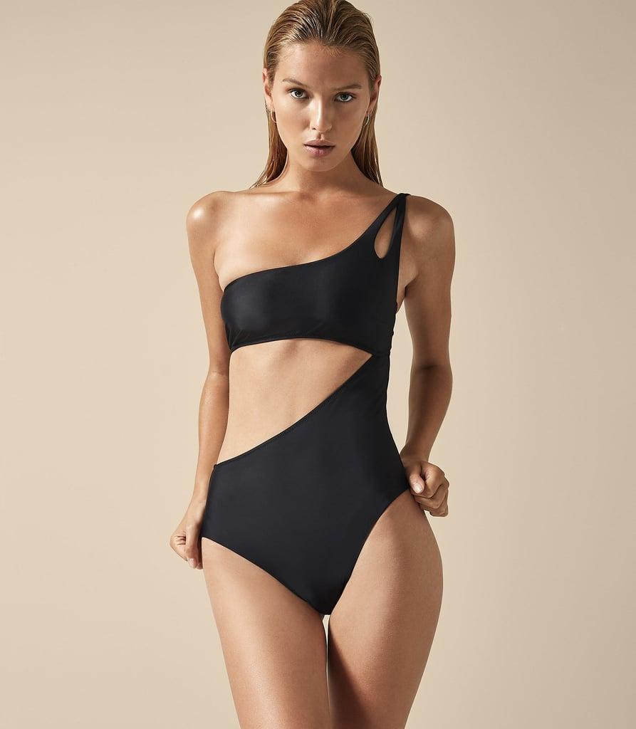Reiss Charlize Asymmetric Swimsuit in Black