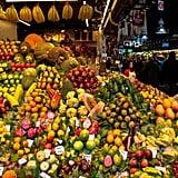 Taste exotic fruits and veggies at La Boqueria.