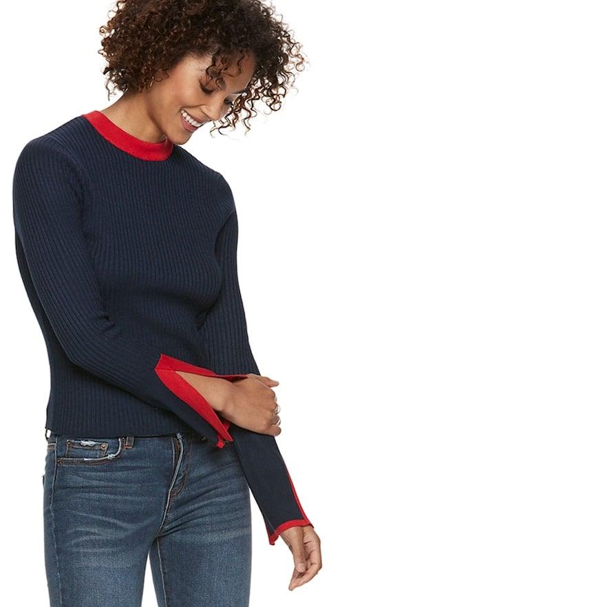 POPSUGAR Ribbed Slit-Sleeve Sweater