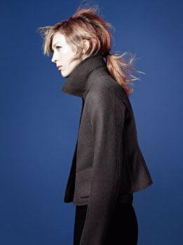 ">> Jil Sander's third and most comprehensive +J collection for Uniqlo — 169 pieces — hits stores on Oct. 7, one year to the day after the premiere collection's launch. Sander, who has signed on to do the collection through 2013, introduced her Fall 2010 offering to Hilary Alexander. The palette runs black, navy, white, silver-grey, beige, and all shades of blue — ""Storm to sky,"" Sander says. There's a silvery down jacket with little leggings (""almost couture,"" Sander notes); a midnight felt coat, with detachable gilet and hood (""the most expensive felt, and real buttons, NOT plastic, which we hate""); a black wool and cashmere jacket (""very Jil Sander""); duffle coats in pewter wool, tight-fitted, and high-waisted (""they could be £2,000 at designer level""). The collection ranges from $15.90 for cut-and-sewn to $229.90 for outerwear."