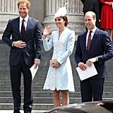 Harry and William were all smiles while attending a National Service of Thanksgiving with Kate Middleton in June 2016.
