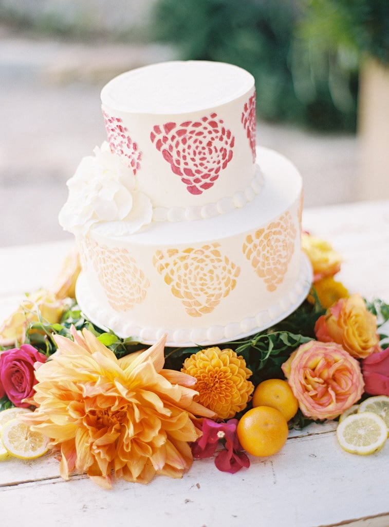 The watercolor details on this cake are so unexpected and fun — what else could you ask for from your wedding-day dessert?  Photo by Ryan Ray Photography via Style Me Pretty