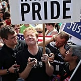 Protesters outside the US Supreme Court reacted to the DOMA ruling and judicial decline on Prop 8.