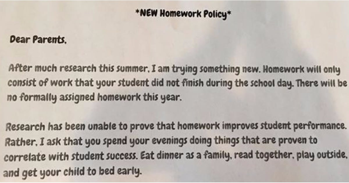 Teacher S No Homework Policy Note Popsugar Moms