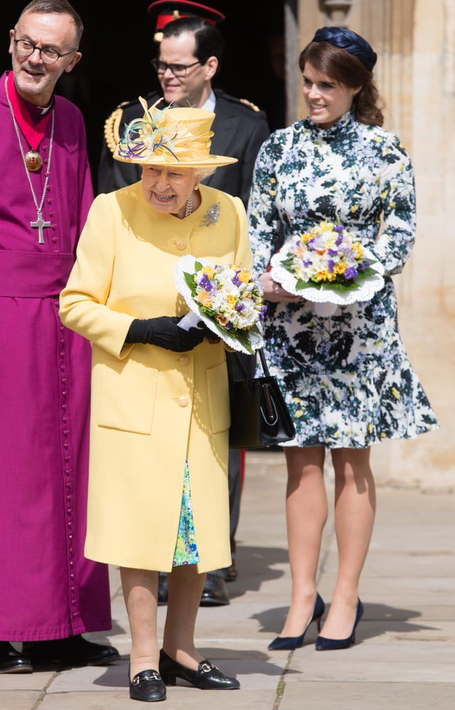 The royal family are kicking off the Easter festivities! On Thursday, Queen Elizabeth II was accompanied by granddaughter Princess Eugenie for the Royal Maundy service at St. George's Chapel, the same place where Eugenie and husband Jack Brooksbank tied the knot back in October 2018. In honor of the queen's upcoming 93rd birthday on April 21, they passed out coins to 93 men and 93 women during the service as part of the tradition that dates back to the 13th century.  Queen Elizabeth and Eugenie appeared in good spirits as they held bouquets of flowers and posed outside the chapel. While the monarch looked bright and cheery in a yellow jacket and hat, Eugenie recycled her floral Erdem Bernette dress, which she wore during the Royal Ascot last year. See more of the royals' sweet outing together ahead!