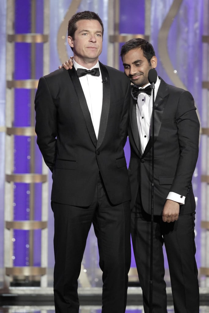 Aziz Ansari and Jason Bateman joked around together on stage.