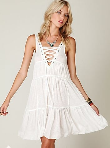 Supersoft and femme, with just a hint of sexy via the lace-up detailing.   Free People Tie Me Up Dress ($88)