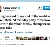 Doctor Who actress Karen Gillan planned her classy last meal — Champagne and sausage (aw, what a Scot).