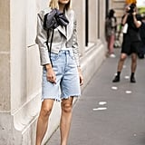 Style Square-Toe Heels With a Blazer and Baggy Denim Shorts