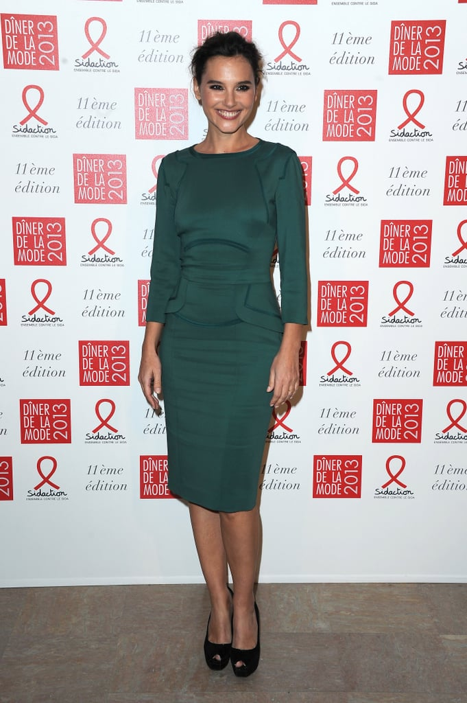Virginie Ledoyen kept it simple and sleek in a dark green fitted sheath, only pairing the jewel-toned ensemble with black peep-toe pumps and a bun.