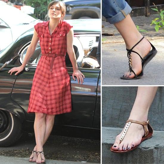 e7a378144348 Shop Flat Embellished Chain Thong Sandals Like Keira Knightley ...