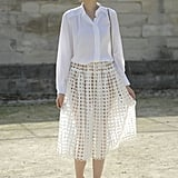 Already taking Spring's sheer skirt trend for a test drive, this styler tempered the look with a classic button-down.