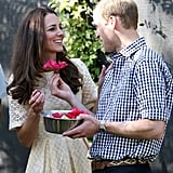 William gave Kate a flower during their 2014 visit to Taronga Zoo in Sydney, Australia.