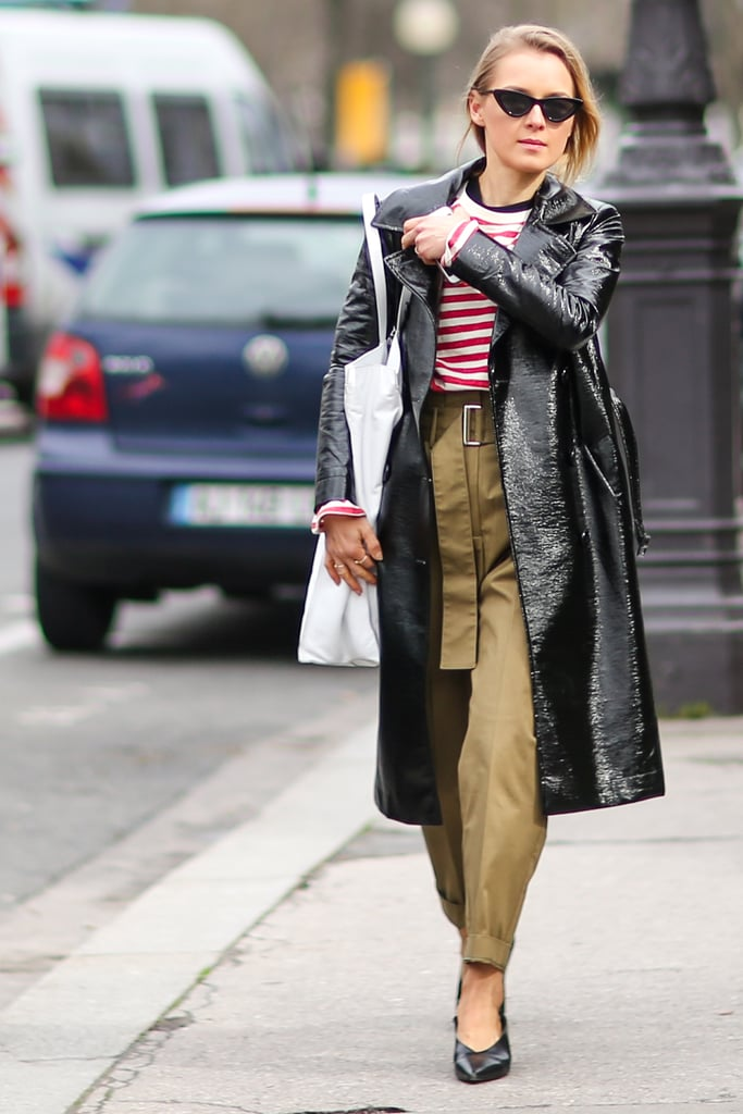 Classic Striped Tee, Khakis, and a Leather Trench