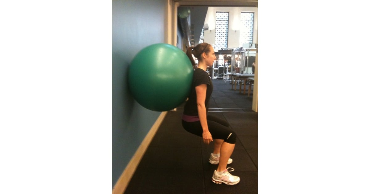 Body Weight Wall Squat | Battle of the Baby Weight: Stability Ball