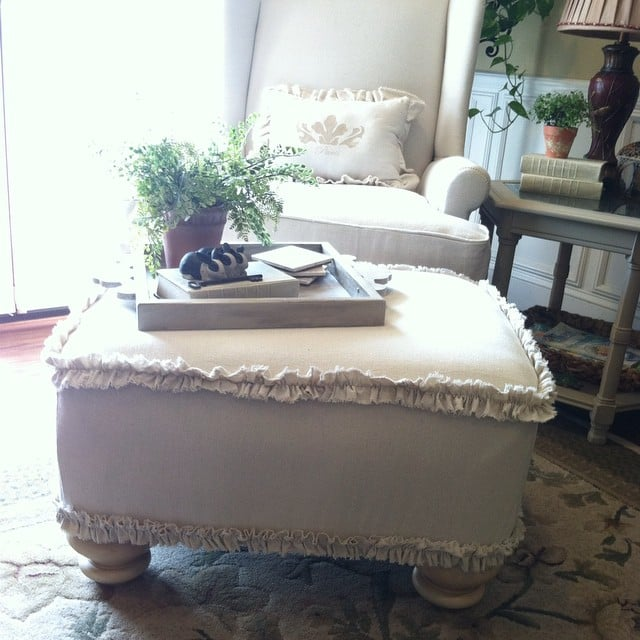 A Frilly Ottoman Cover