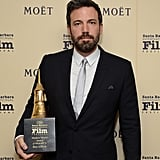 Ben Affleck posed with his modern master award at the Santa Barbara International Film Festival.