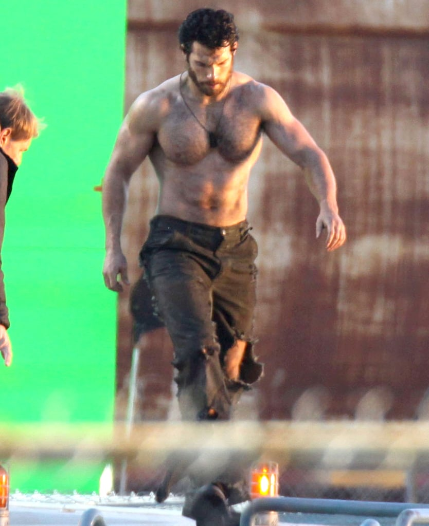 Henry Cavill's killer body caught the sunlight in Vancouver.