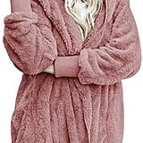Dokotoo Fuzzy Fleece Open-Front Hooded Cardigan in Pink