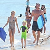 Naomi Watts and Liev Schreiber took their sons to the beach in Sydney in December.