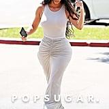 7828ba160a Bobeau Ruched Waist Side Slit Maxi Skirt | Kim Kardashian Gray Maxi ...
